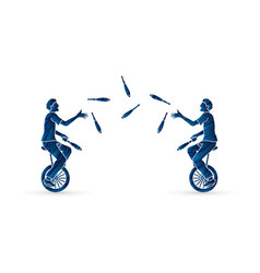 Men juggling pins while cycling together vector