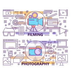 Set of modern thin line photography and vector