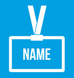 Plastic name badge with neck strap icon white vector