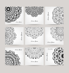 Set of ornate cards for your design vector