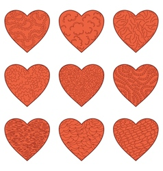 Set valentine hearts vector