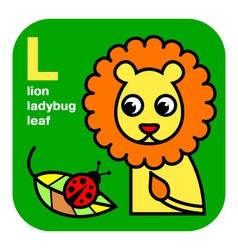 ABC lion ladybug leaf vector image