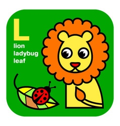 Abc lion ladybug leaf vector