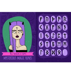 Magic set with freaky girl and mysterious runes vector