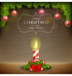 Christmas candle on scratched background vector