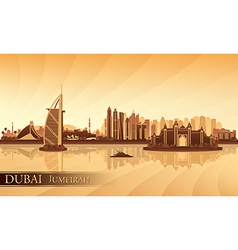 Dubai jumeirah skyline silhouette background vector