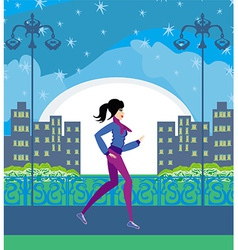 Jogging girl in the city vector