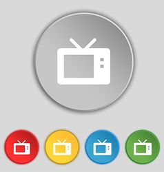 Retro tv mode icon sign symbol on five flat vector