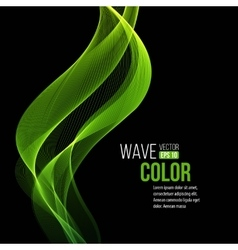 Abstract transparent green waves on black vector