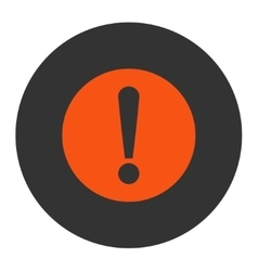 Problem flat orange and gray colors round button vector