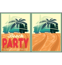 Beach party poster collection vector