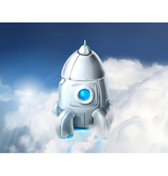 Rocket in the clouds vector