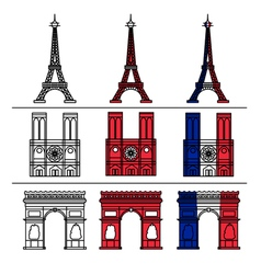 Paris monuments set - eiffel tower vector