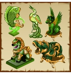 Five various animal figurines made of malachite vector