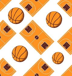 Sketch basketball seamless pattern vector image