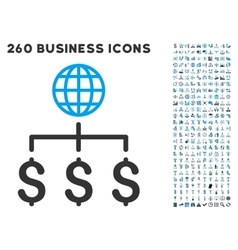 Global Payments Icon with Flat Set vector image