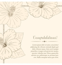 Congratulations card design template with hibiscus vector