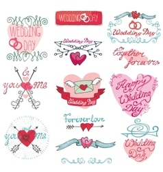 Wedding doodle decor setRomantic labelscards vector image