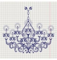 Antique gothic chandeliar sketch vector