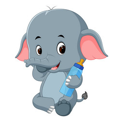 baby elephant with milk bottle vector image