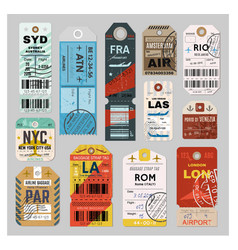 baggage tag set on grey background vector image