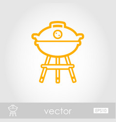 Barbecue grill outline icon summer holiday vector