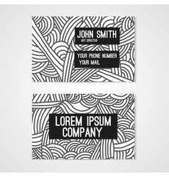 Business card template with hand drawn doodle vector image