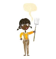 Cartoon farmer girl with speech bubble vector
