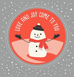 Cute snowman greeting card design vector image vector image
