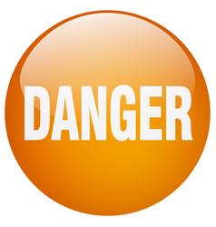 Danger orange round gel isolated push button vector
