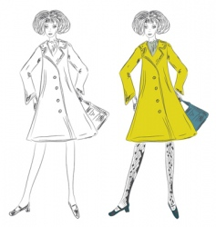 fashion girl in the coat vector image vector image