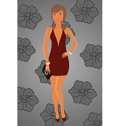 fashion glamor girl in dress - vector image vector image