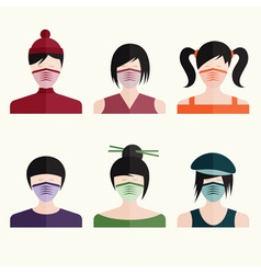 flat design set japanese girls in medical masks vector image