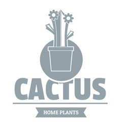 Floral cactus logo simple gray style vector