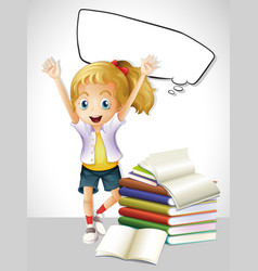 girl with books and speech bubble vector image vector image