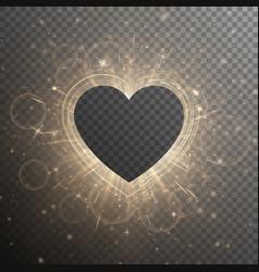 golden heart with light effect vector image