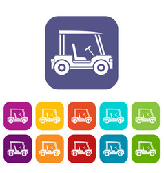 Golf club vehicle icons set flat vector