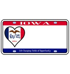 Iowa state license plate vector