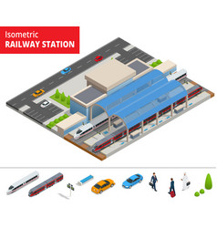 isometric infographic element railway vector image vector image