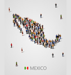 large group of people in form of mexico map vector image