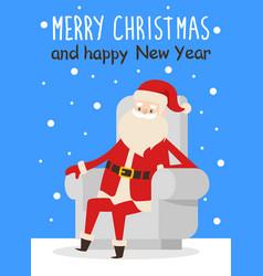 Merry christmas happy new year poster santa snow vector
