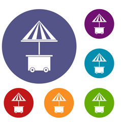 Mobile cart with umbrella for sale food icons set vector