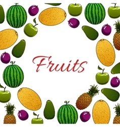 Organic fruit poster for healthy food design vector image vector image