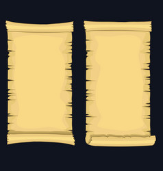 Papyrus scrolls aged blank paper scroll medieval vector