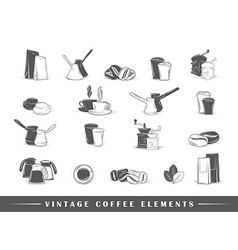 Retro coffee elements vector image