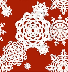 Seamless applique snowflake background vector image