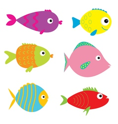 Set of cute cartoon fishes Isolated vector image vector image