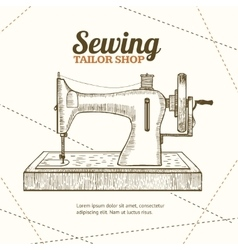 Sewing machine banner card hand draw sketch vector