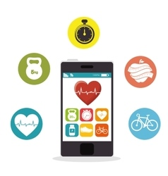 Smartphone heart rate app fitness health vector