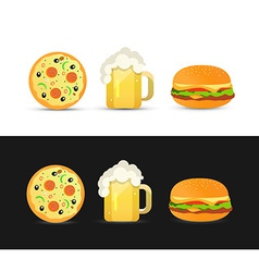 Tasty Pizza Beer and Hamburger vector image vector image